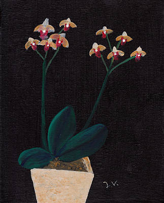 Table Orchid Art Print by M Valeriano