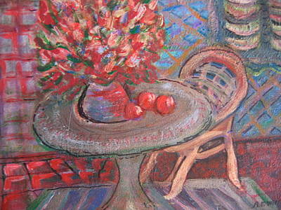 Table With Flowers And Chair Art Print by Anne-Elizabeth Whiteway