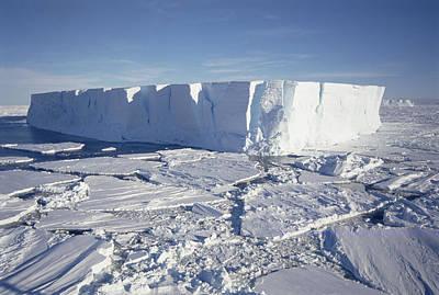 Break Fast Photograph - Tabular Iceberg With Broken Fast Ice by Tui De Roy