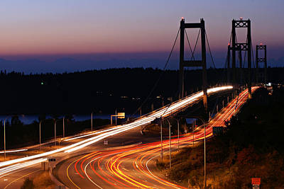 Tacoma Narrows Bridges Flowing Light  Art Print