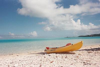 Tahiti Ocean Kayak On Beach Art Print by Mark Norman