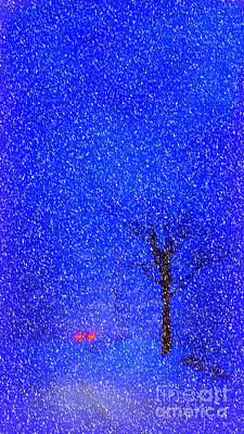 Tail Lights In A Snow Storm Art Print by Lila Fisher-Wenzel