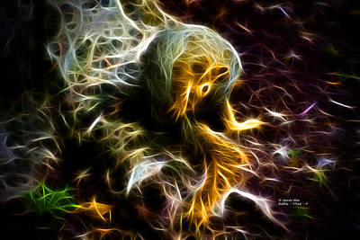Take A Bow - Fractal - Robbie The Squirrel - Fractal Art Print