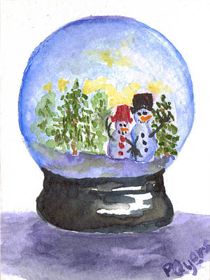 Painting - Taking A Stroll Snowglobe by Paula Ayers