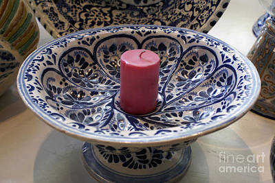 Photograph - Talavera Candle Holder Puebla Mexico by John  Mitchell