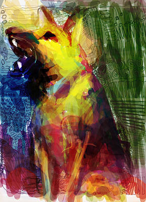 German Shepard Digital Art - Talking Dog by James Thomas