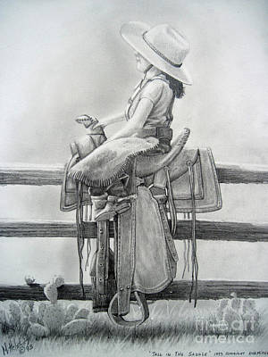 Drawing - Tall In The Saddle by Rick Mittelstedt