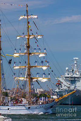 Photograph - Tall Ship Dewaruci Greets A Naval Vessel by Susan Cole Kelly