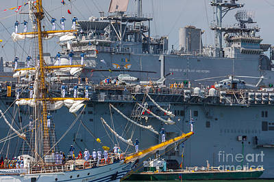 Photograph - Tall Ship Dewaruci Passes The Uss Wasp by Susan Cole Kelly