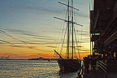 Pier 17 Digital Art - Tall Ship In Manhattan by Alex AG
