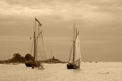 Photograph - Tall Ships Sailing In Sepia by Suzanne Gaff