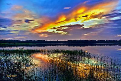 Talmadge Lake Florida Sunset Art Print by Stephen  Johnson