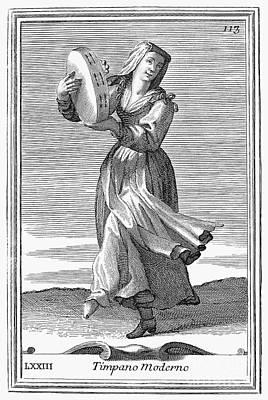 Tambourine, 1723 Art Print by Granger
