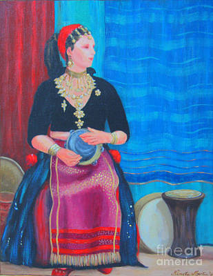 Print featuring the painting Tambourine Lady by Nareeta Martin