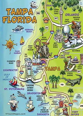 Scifi Portrait Collection - Tampa Florida Cartoon Map by Kevin Middleton