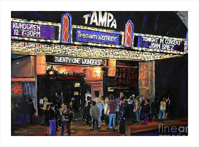 Tampa Theatre Night Lights Art Print by Barry Rothstein
