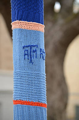 Fabric Art Photograph - Tamu Astronomy Crocheted Lamppost by Nikki Marie Smith