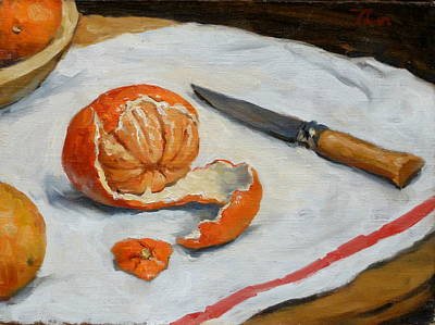 Brushy Painting - Tangerine And Knife by Thor Wickstrom