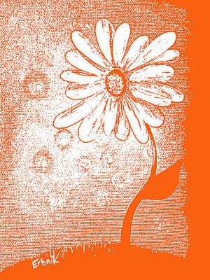 Tangerine Daisy By Shawna Erback Art Print by Shawna Erback