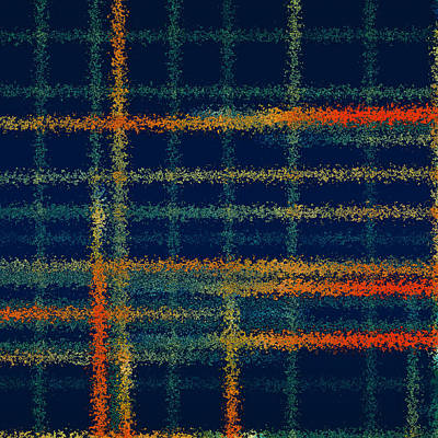 Blue Abstract Painting - Tangerine Plaid by Bonnie Bruno
