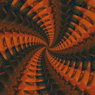 Digital Art - Tangerine Whirls by Bonnie Bruno