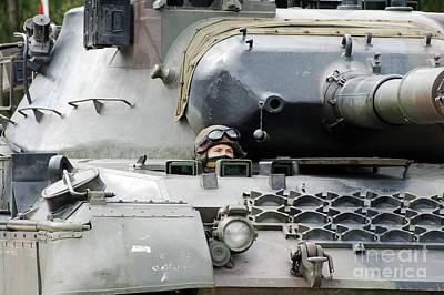 Tank Driver Of A Belgian Leopard 1a5 Art Print by Luc De Jaeger