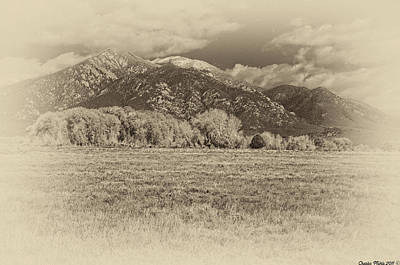 Digital Art - Taos Mountain As Antique Plate by Charles Muhle