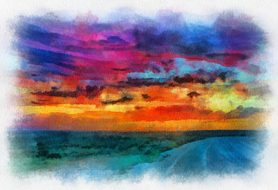 Digital Art - Taos Sunset Iv Watercolor by Charles Muhle