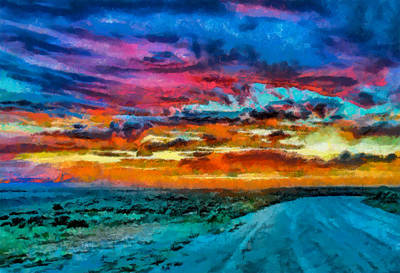 Digital Art - Taos Sunset Iv Wc by Charles Muhle