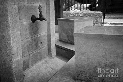 Tap And Seat At The Ablution Fountains Outside The Lala Mustafa Pasha Mos Art Print by Joe Fox