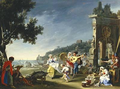Naples Painting - Tarantella At Mergellina by Filippo Falciatore