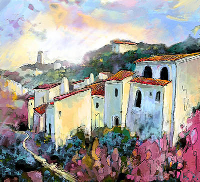 Spanish Town Painting - Tarbena 05 by Miki De Goodaboom