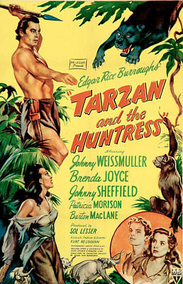 Tarzan And The Huntress, Patricia Art Print by Everett