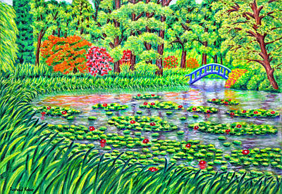 Reeds Painting - Tatton Park Water Gardens - Cheshire by Ronald Haber