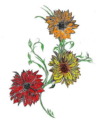 Painting - Tattoo Daisies by Tbone Oliver
