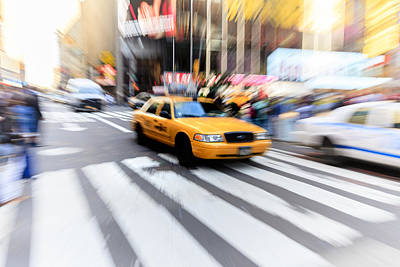 Y120831 Photograph - Taxi & Reflections, Times Square, New York by Fred Froese