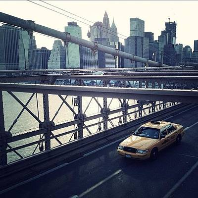 Taxi On Bridge Art Print