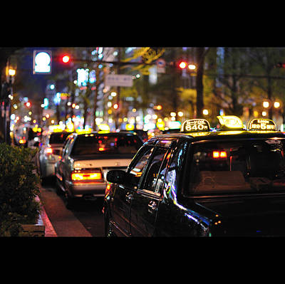Taxis On Street At Night Art Print by Thank you for choosing my work.