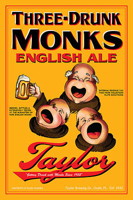 Three Drunk Monks Drawing - Taylor Three Drunk Monks by John OBrien