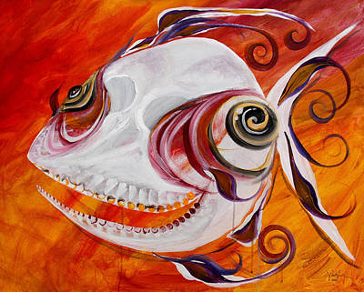Weird Painting - T.b. Chupacabra Fish by J Vincent Scarpace