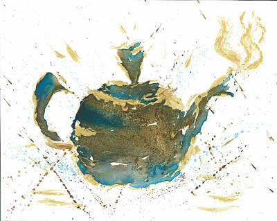Teapot Painting - Tea Partying by Janet Whitehead