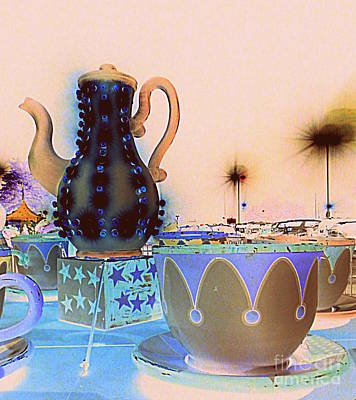 Art Print featuring the photograph Tea Pot And Cups Ride With Inverted Colors by Renee Trenholm