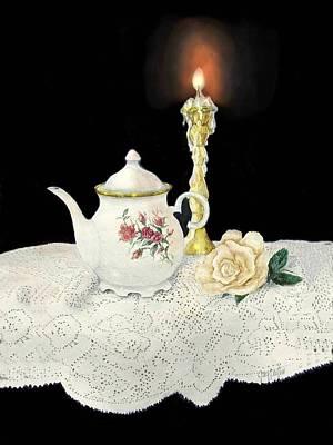 Tea Pot And Rose Art Print