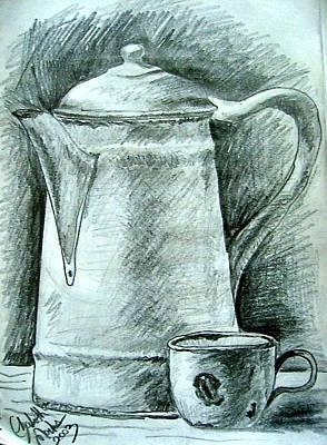 Drawing - Tea Time by Elizabeth Marks