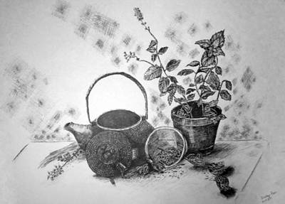 Drawing - Tea Time by Shelley Bain