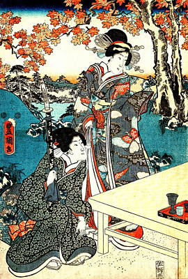 Tea Under The Maple Leaves 1851 Art Print