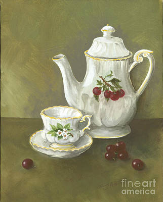 Art Print featuring the painting Tea With Cherries  by Nancy Patterson