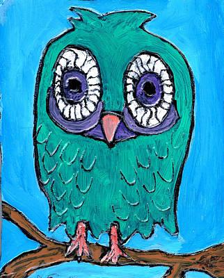 Teal Hooter 1 Art Print by Wayne Potrafka