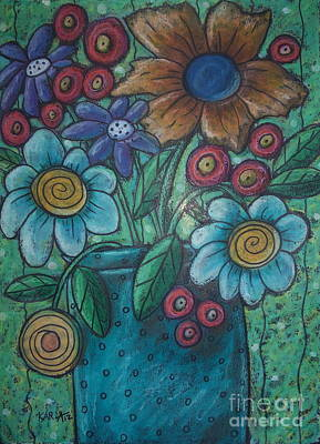 Oil Pastel Pastel - Teal Pot by Karla Gerard