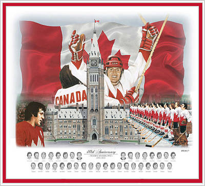 Canadian Sports Mixed Media - Team Canada 40th Anniversary 17.5x20.5 by Daniel Parry